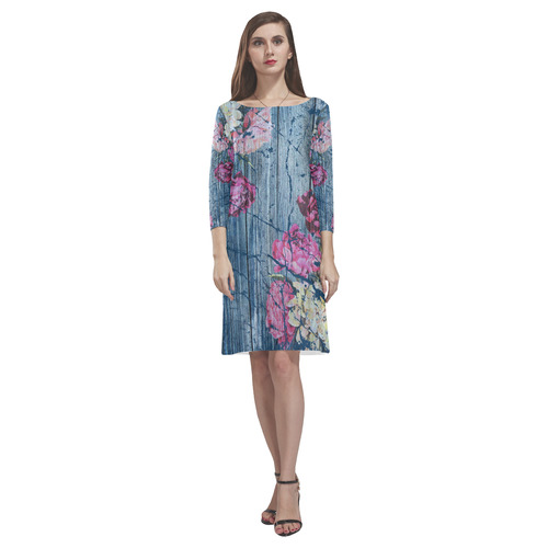 Shabby chic with painted peonies Rhea Loose Round Neck Dress(Model D22)
