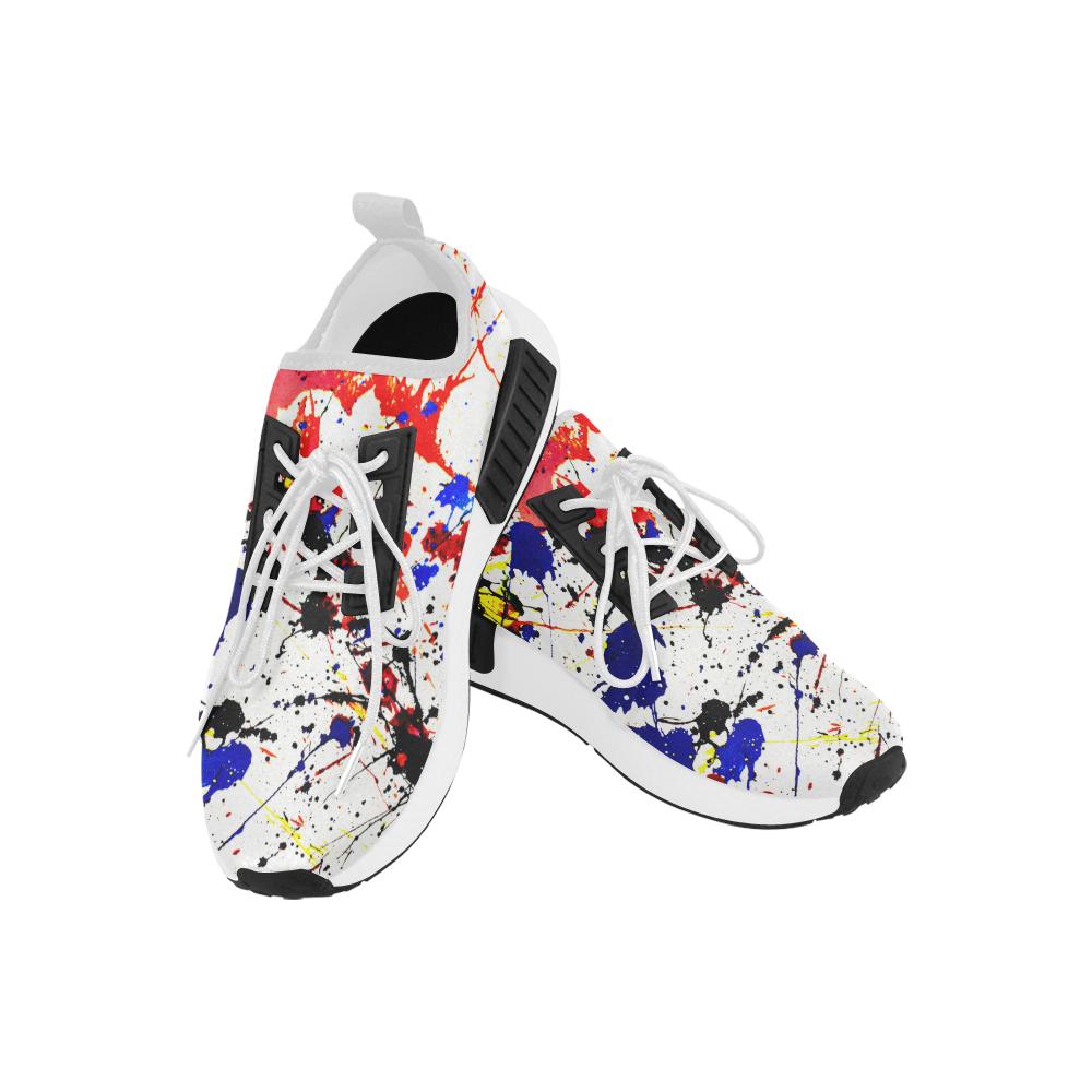 Blue & Red Paint Splatter Artsy Men's Draco Running Shoes (Model 025)