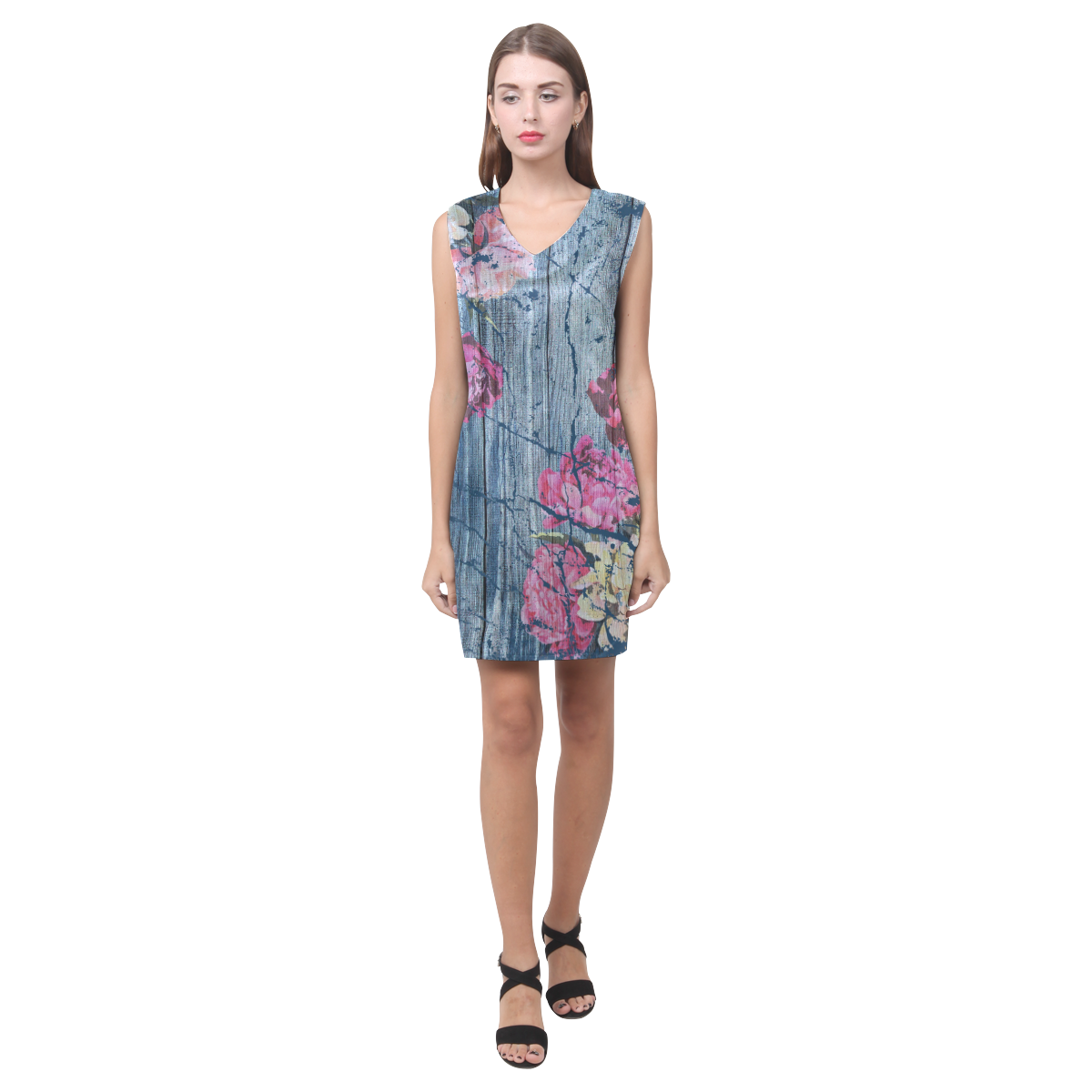 Shabby chic with painted peonies Phoebe Sleeveless V-Neck Dress (Model D09)