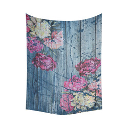 """Shabby chic with painted peonies Cotton Linen Wall Tapestry 60""""x 80"""""""