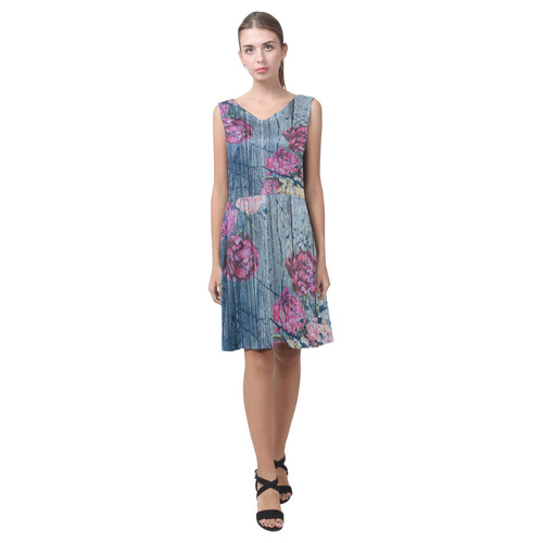 Shabby chic with painted peonies Chryseis Sleeveless Pleated Dress(Model D07)
