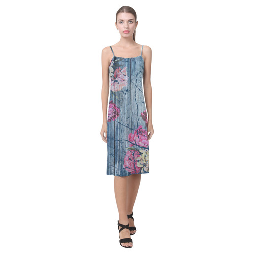 Shabby chic with painted peonies Alcestis Slip Dress (Model D05)