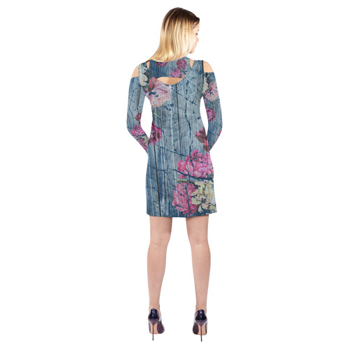 Shabby chic with painted peonies Cold Shoulder Long Sleeve Dress (Model D37)
