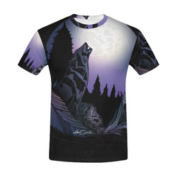 Howling Wolf All Over Print T-Shirt for Men (USA Size) (Model T40)
