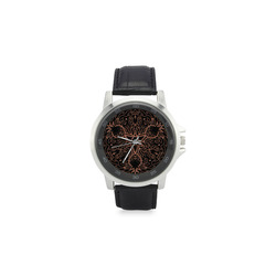mandala 3D-6 Unisex Stainless Steel Leather Strap Watch(Model 202)