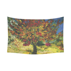 """Van Gogh Mulberry Tree Abstract Triangles Cotton Linen Wall Tapestry 90""""x 60"""""""