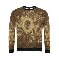 Awesome skull on a button All Over Print Crewneck Sweatshirt for Men/Large (Model H18)