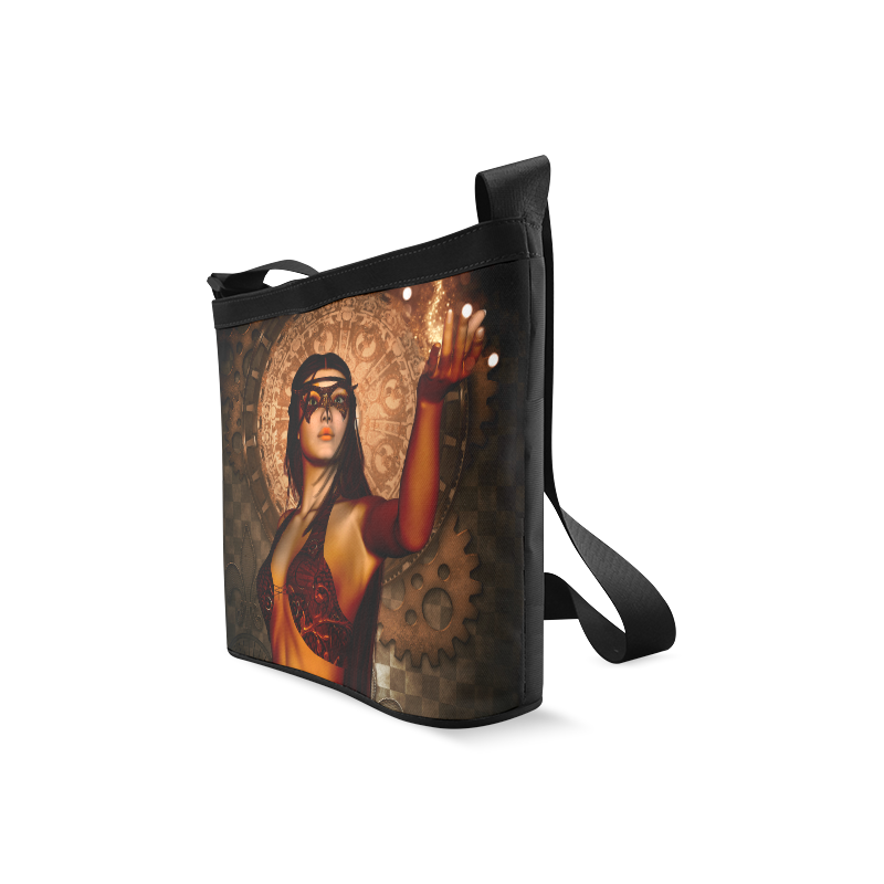 Steampunk lady with mask Crossbody Bags (Model 1613)