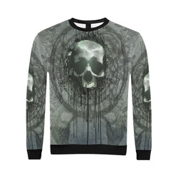 Awesome skull with bones and grunge All Over Print Crewneck Sweatshirt for Men/Large (Model H18)