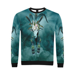 The billy goat with feathers and flowers All Over Print Crewneck Sweatshirt for Men/Large (Model H18)