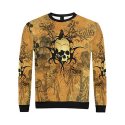 Awesome skull with tribal All Over Print Crewneck Sweatshirt for Men/Large (Model H18)