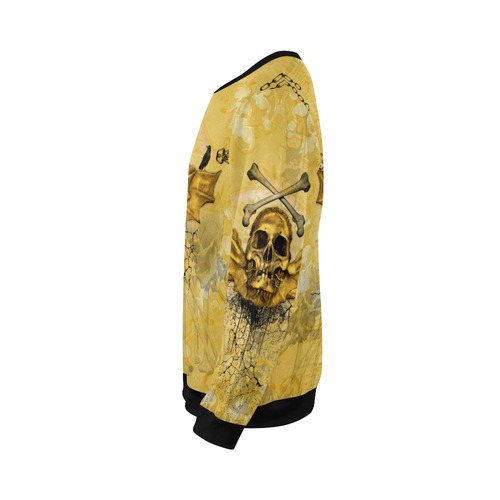 Awesome skull in golden colors All Over Print Crewneck Sweatshirt for Men/Large (Model H18)