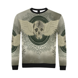 Skull with wings and roses on vintage background All Over Print Crewneck Sweatshirt for Men/Large (Model H18)