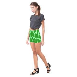 Green Giraffe Print Briseis Skinny Shorts (Model L04)