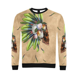 Amazing skull with feathers and flowers All Over Print Crewneck Sweatshirt for Men/Large (Model H18)