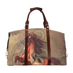 Wonderful horse with skull, red colors Classic Travel Bag (Model 1643) Remake