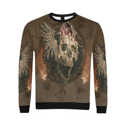 Awesome skull with rat All Over Print Crewneck Sweatshirt for Men/Large (Model H18)