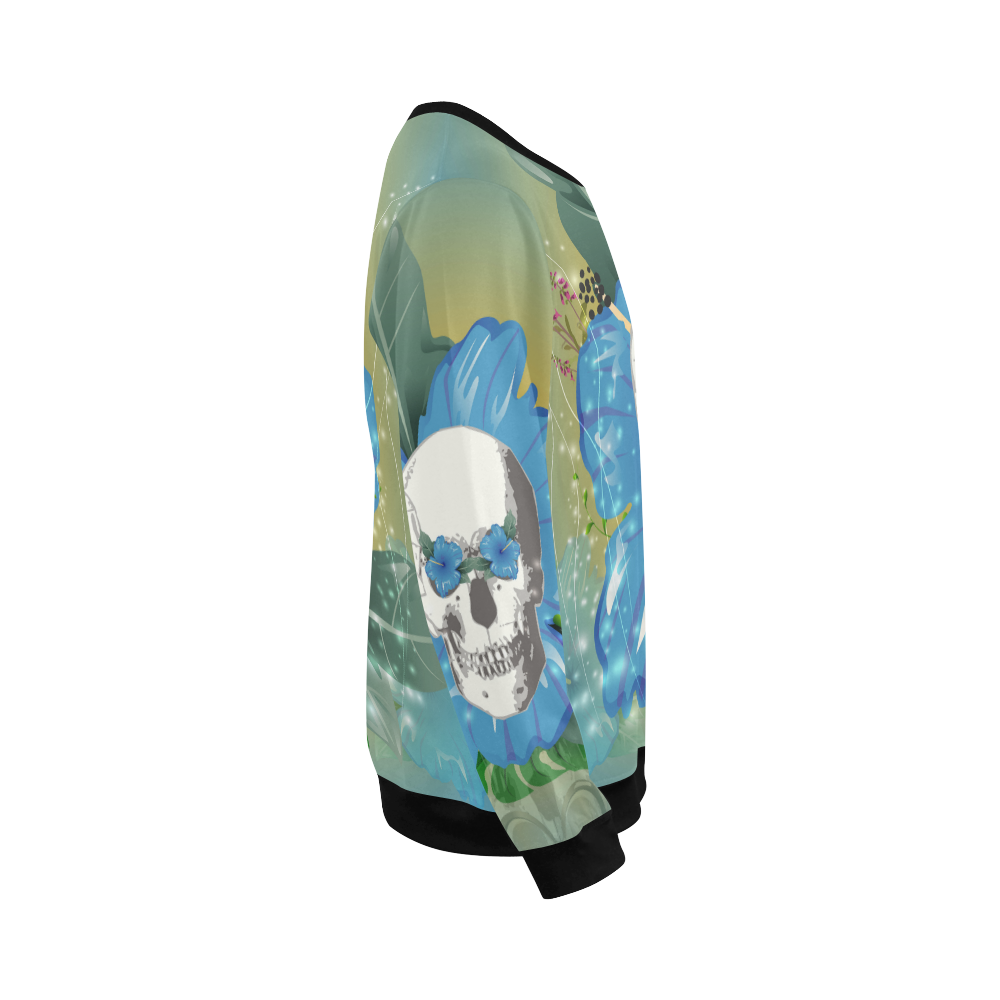 Funny skull with blue flowers All Over Print Crewneck Sweatshirt for Men/Large (Model H18)