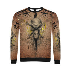 The scary skull with crow All Over Print Crewneck Sweatshirt for Men/Large (Model H18)