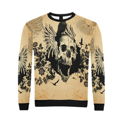 Awesome skull with crow All Over Print Crewneck Sweatshirt for Men/Large (Model H18)