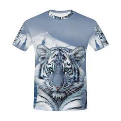 Blue White Tiger All Over Print T-Shirt for Men (USA Size) (Model T40)