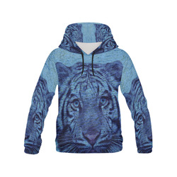 Tiger and Water All Over Print Hoodie for Men (USA Size) (Model H13)