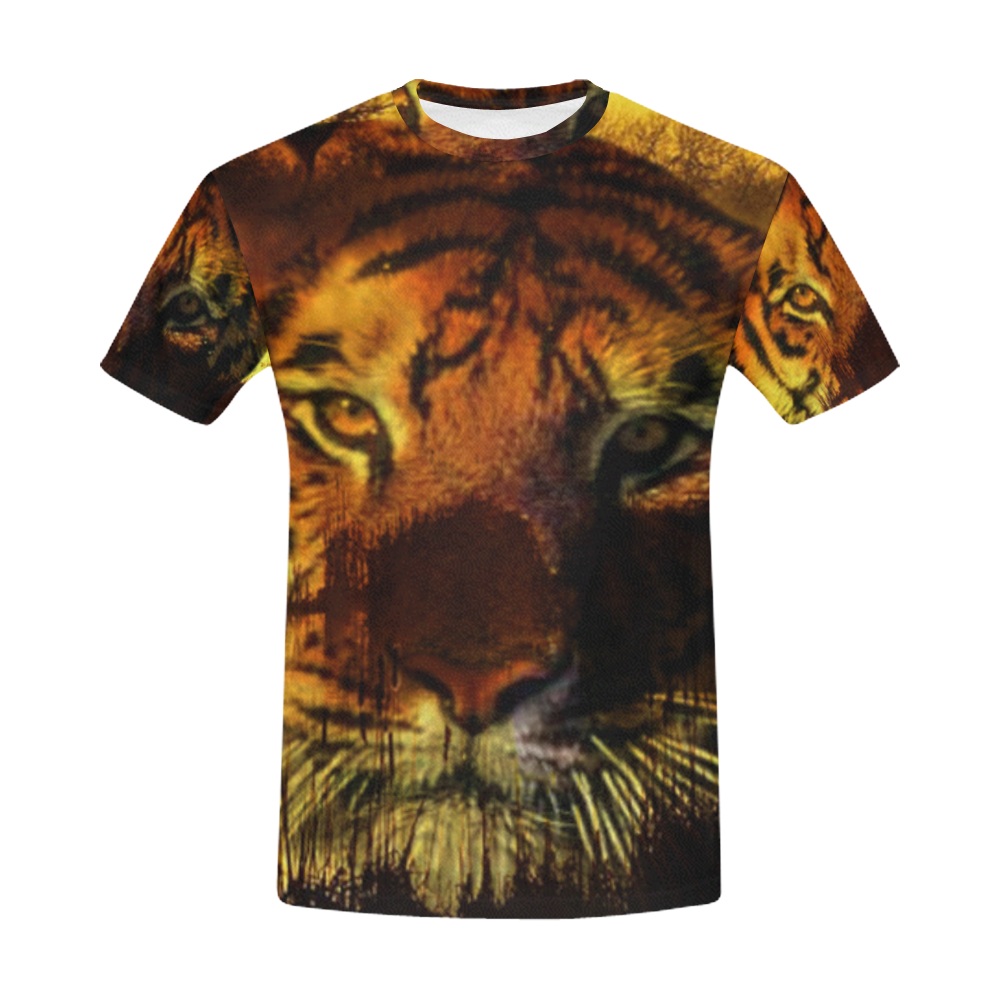 Tiger Face All Over Print T-Shirt for Men (USA Size) (Model T40)
