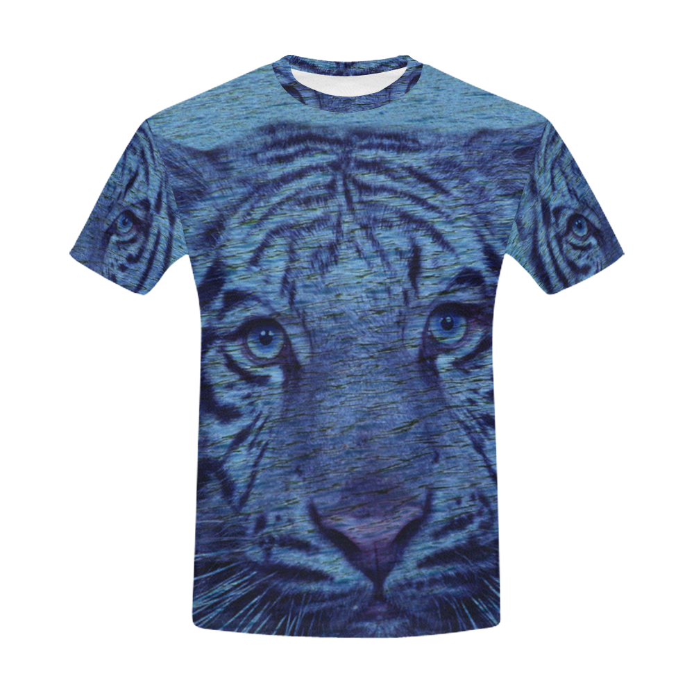 Tiger and Water All Over Print T-Shirt for Men (USA Size) (Model T40)