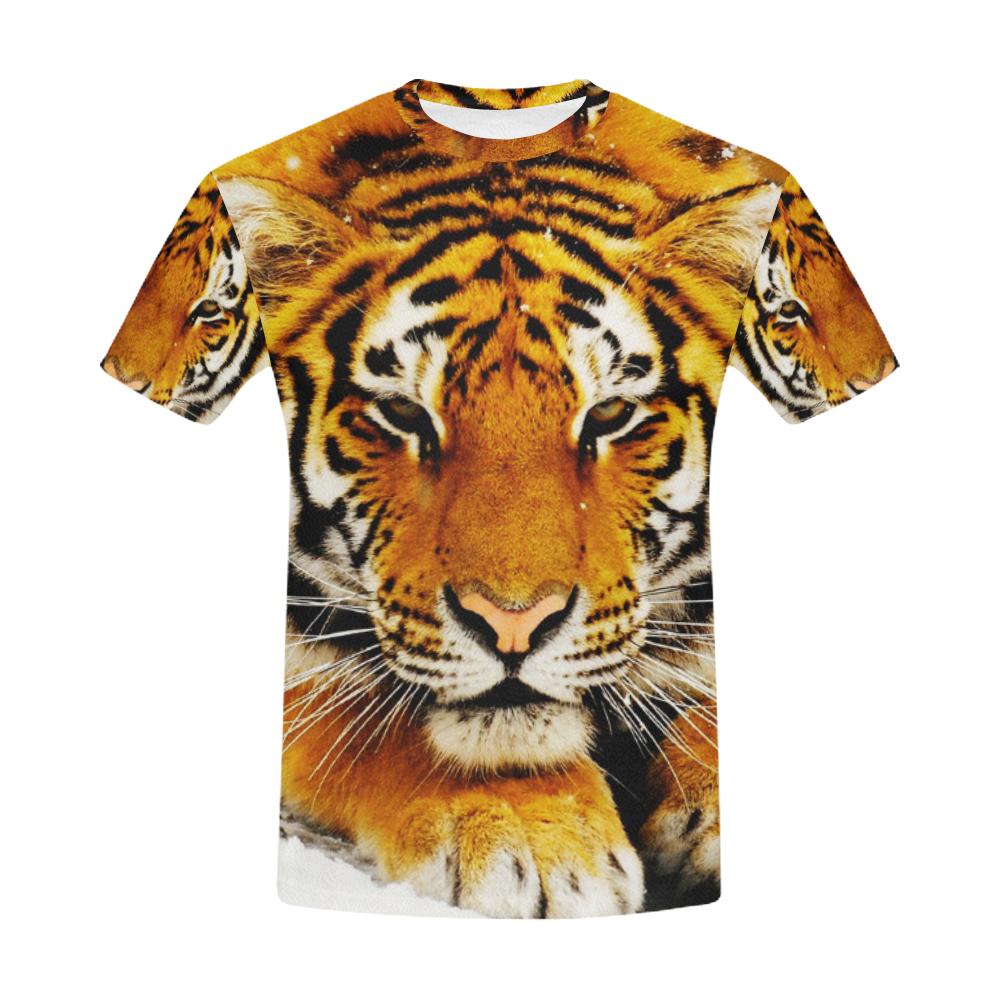 Siberian Tiger All Over Print T-Shirt for Men (USA Size) (Model T40)