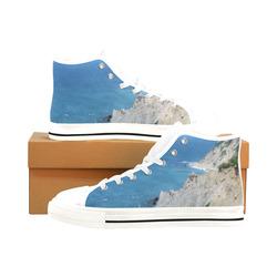 Block Island Bluffs - Block Island, Rhode Island Men's Classic High Top Canvas Shoes /Large Size (Model 017)