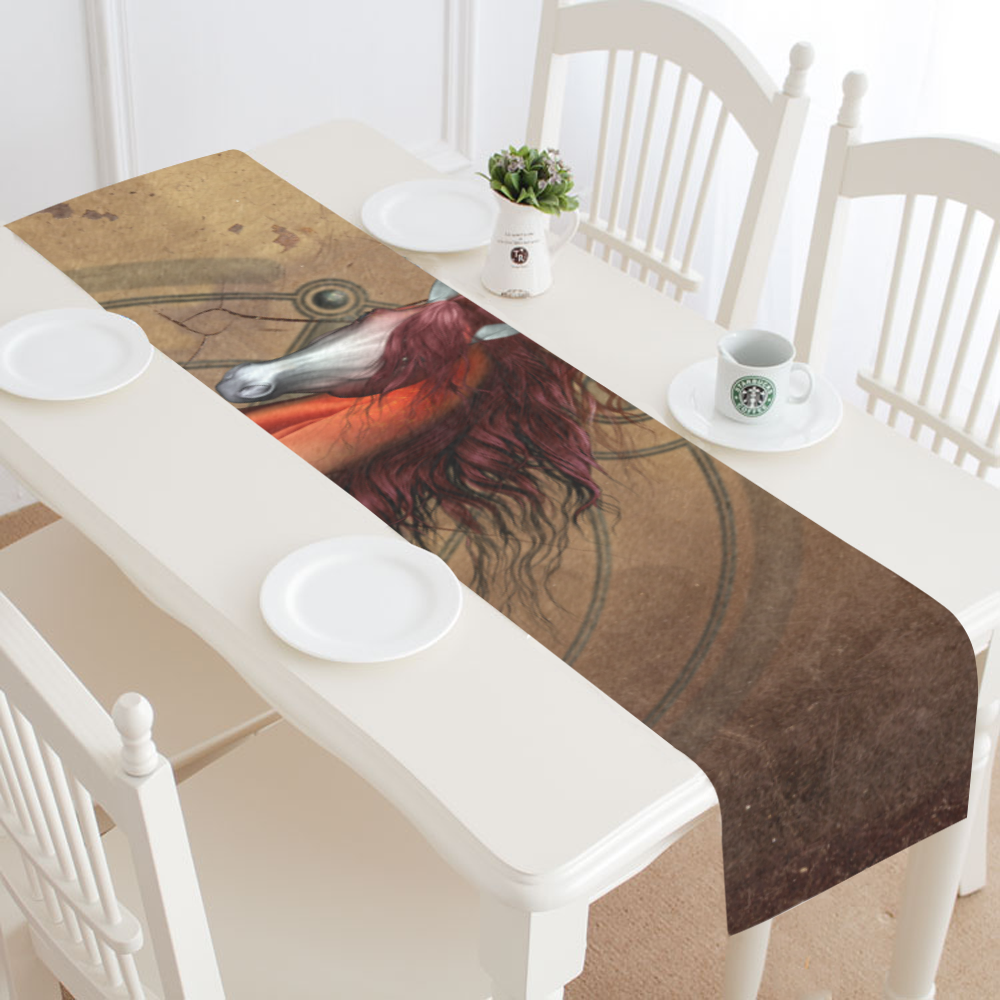 Wonderful horse with skull, red colors Table Runner 14x72 inch