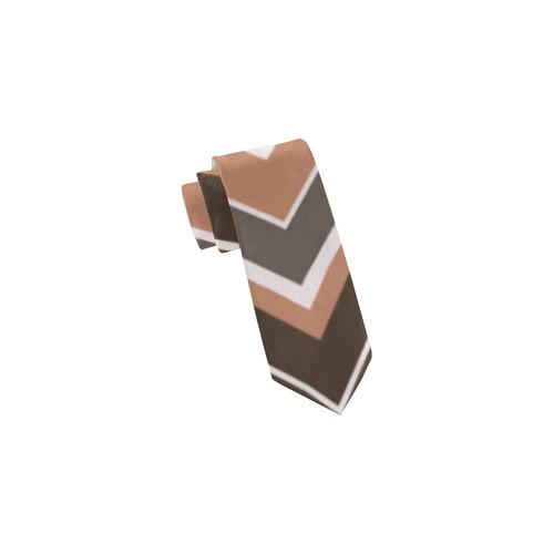 Brown Chevron Stripes Classic Necktie (Two Sides)