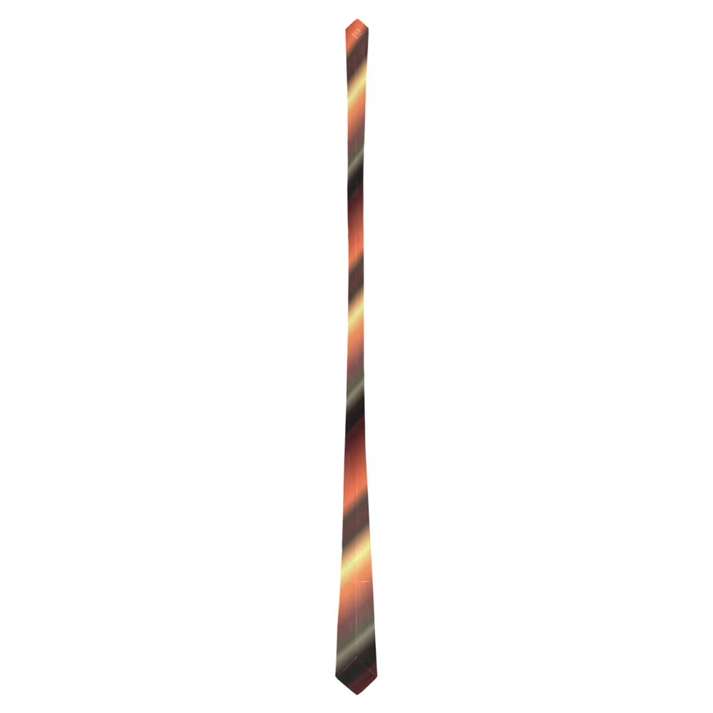 Glossy Brown  Stripes Classic Necktie (Two Sides)