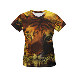 Tiger Face All Over Print T-Shirt for Women (USA Size) (Model T40)