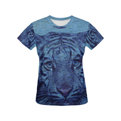 Tiger and Water All Over Print T-Shirt for Women (USA Size) (Model T40)