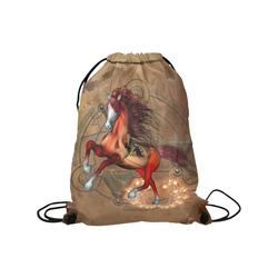 """Wonderful horse with skull, red colors Medium Drawstring Bag Model 1604 (Twin Sides) 13.8""""(W) * 18.1""""(H)"""