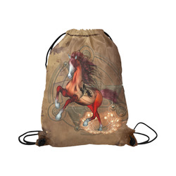 """Wonderful horse with skull, red colors Large Drawstring Bag Model 1604 (Twin Sides)  16.5""""(W) * 19.3""""(H)"""