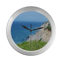 Block Island Bluffs - Block Island, Rhode Island Silver Color Wall Clock