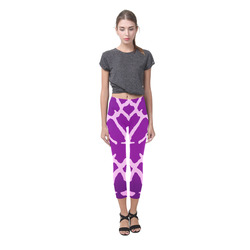 Purple Giraffe Print Capri Legging (Model L02)