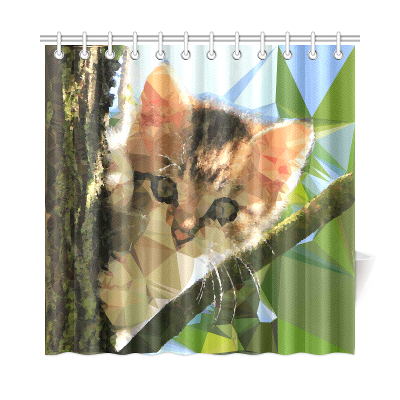 """Kitten In Tree Low Poly Triangles Shower Curtain 72""""x72"""""""
