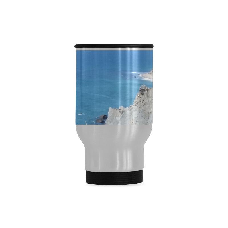 Block Island Bluffs - Block Island, Rhode Island Travel Mug (Silver) (14 Oz)