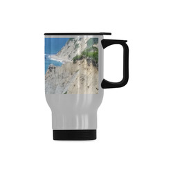 Block Island Bluffs - Block Island, Rhode Island Travel Mug (Silver) (14 Oz)