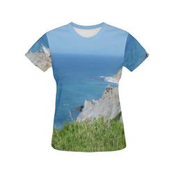 Block Island Bluffs - Block Island, Rhode Island All Over Print T-Shirt for Women (USA Size) (Model T40)