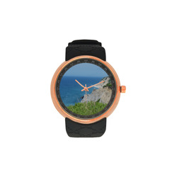 Block Island Bluffs - Block Island, Rhode Island Men's Rose Gold Resin Strap Watch(Model 308)