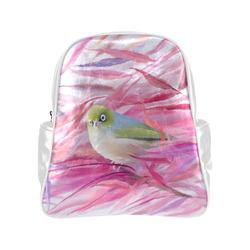 Cute SilverEye, angry bird watercolor Multi-Pockets Backpack (Model 1636)
