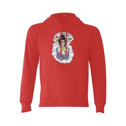 Geisha Sugar Skull Red Gildan Hoodie Sweatshirt (Model H03)