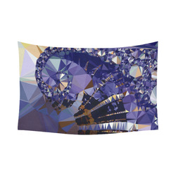 """Blue Gold Low Poly Fractal Triangles Cotton Linen Wall Tapestry 90""""x 60"""""""