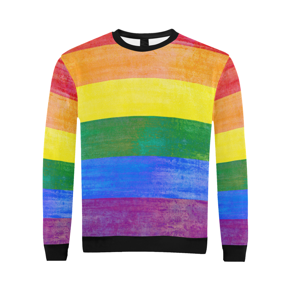 Rainbow Flag Colored Stripes Grunge All Over Print Crewneck Sweatshirt for Men (Model H18)