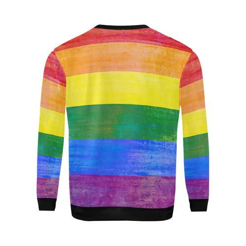 Rainbow Flag Colored Stripes Grunge All Over Print Crewneck Sweatshirt for Men/Large (Model H18)