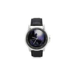 Howling Wolf Unisex Stainless Steel Leather Strap Watch(Model 202)